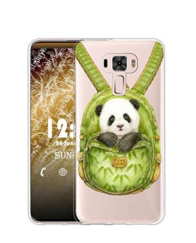 Sunrive Kompatibel mit Asus Zenfone 3 ZE520KL Hülle Silikon, Transparent Handyhülle Schutzhülle Etui Hülle (TPU Rucksack Panda)+Gratis Universal Eingabestift MEHRWEG