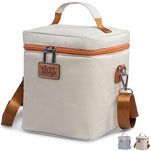 Jax 2020 Breastmilk Cooler Bag - Breastmilk Storage Container for 6 Tall Bottles or Breastmilk Storage Bags - Leak-Proof Caddy Keeps Milk or Formula Cold - Shoulder Bag, Mesh Pocket for Ice Pack