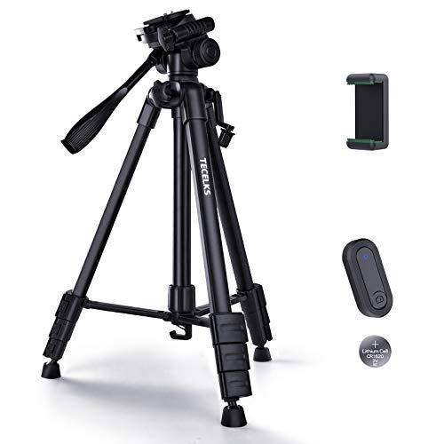 Kamera Stativ 150cm,TECELKS Aluminium Stativ mit Fernbedienung, Handyhalter and Tragetasche für Smartphone DSLR Canon Nikon Sony Olympus