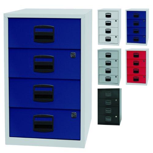 PFA bijzetkast, voor kantoor met 4 schuifladen van metaal, geschikt voor cd's, afsluitbaar, 5 kleuren Lichtgrau/Oxfordblau