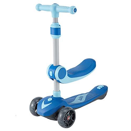 Scooters para Niños Scooter para niños plegables de un solo clic con altura ajustable, scooter de niños pequeños con ruedas de flash amplias, scooters para niños de 3 a 8 años de edad Antideslizante S