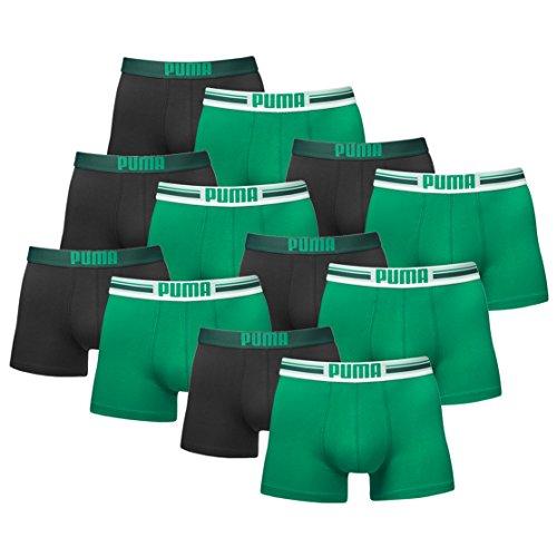Puma Herren Placed Logo Boxer Boxershort Unterhose 12er Pack Green 327 - S