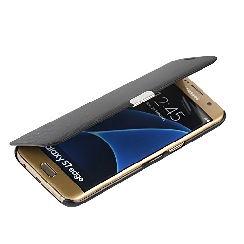 MTRONX Cover Samsung Galaxy S7 Edge, Custodia Case Ultra Folio Flip Stile Pelle Libro con Magnetic Closure Paraurti per Samsung Galaxy S7 Edge - Nero(MG-BK)