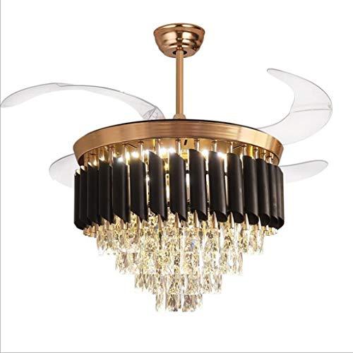 MYBA Ventilador de techo Stumm de cristal, luz moderna de techo, mando a distancia, cuchillas retráctiles, para salón, restaurante, luz LED (tamaño: 42 pulgadas)