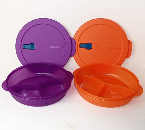 Mikrowelle Mikro-Fix Tupperware 2X 1,9L Lila + Orange Teller mit Abteilung abgeteilt mit Deckel + Geschenk Minigefrierbehälter 110ml Orange