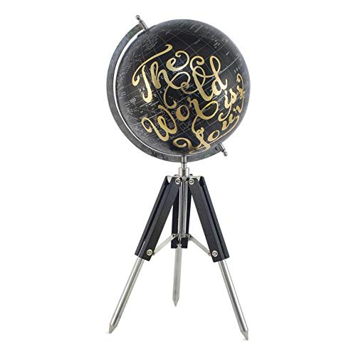 Tds - Globo terráqueo sobre trípode de madera y metal – Objeto de escritorio decorativo – Map Mundo de color negro y oro 30 cm de diámetro 72 cm de altura – Idea regalo chic