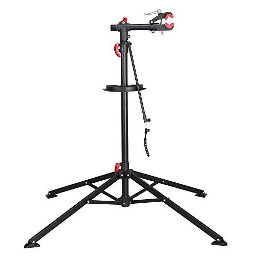 Yaheetech Portátil Caballete para Bicicleta Soporte de Reparación Plegable con Bandeja Magnética Altura Ajustable 108-188 cm para Bicicleta Montaña Carretera