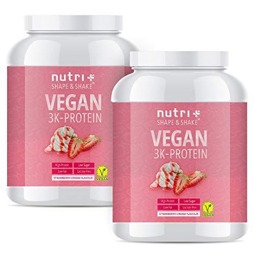 PROTEIN PULVER VEGAN Erdbeer Sahne 2kg - 83,7{99bc911d1d95dde4d6b9e7c04a70ace42e3d658caa5281c7fb8d639f1c767009} Eiweiß - Nutri-Plus Shape & Shake pflanzliches Eiweißpulver - Veganer Proteinshake Strawberry Cream Flavour 2000g