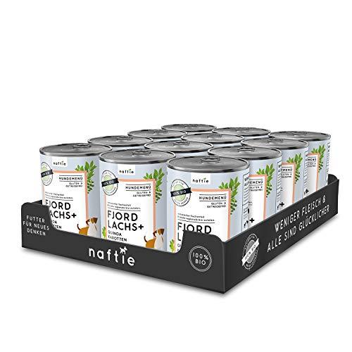 naftie Bio Hundefutter Fjord Lachs+ | Premium Nassfutter Menü mit Lachs-Fisch, Quinoa, Karotten & Oregano | Getreidefrei | Glutenfrei | Sparpaket 12 x 400g Dosen