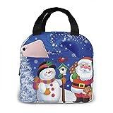 Bolsa de almuerzo aislada impermeable con muñeco de nieve navideño y Papá Noel, lonchera térmica reutilizable con bolsa de bolsillo para el trabajo escolar