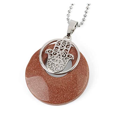 DERFX Círculo Natural Piedra Cristal Colgante Fatima Hamsa Mano Palma Colgantes Collares Protectores joyería de Amuleto para Mujeres Hombres Accesorios (Metal Color : Brown Sand Chain)