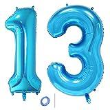 Huture 2 Luftballons Zahl 13 Figuren Aufblasbar Helium Folienballon Große Folienmylar Ballons Riesen Blau Ballons 40 Zoll Luftballons Zahl für Geburtstag Party Dekoration Abschlussball XXL 100cm