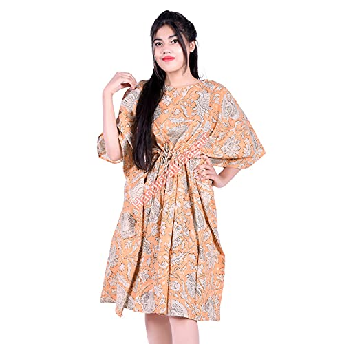 Bazar - Bikini de kaftan suelto con estampado floral, vestido de noche de media manga, vestido de playa de caftán de una pieza más tamaño túnica de algodón para mujer (101 x 104 cm)
