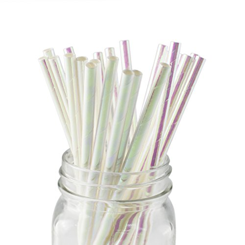Ipalmay Foil Iridescent Pink Pearl Cocktail Paper Straws, Disposable Biodegradable, 7.75 Inches, Pack of 100