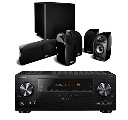 Pioneer Elite VSX-LX303 9.2 Channel 4k UltraHD Network Audio & Video Receiver Home Theater Bundle with Polk Audio TL1600 5.1 Speaker System with Powered Subwoofer - Black