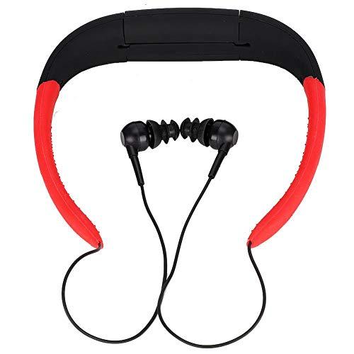 Bluetooth Koptelefoon, Draagbare Ergonomische Stereo Nek Hangende Muziek Bluetooth Headset, IPX8 Waterdichte Buitensport Oortelefoon Met Ruisonderdrukkende Microfoon, 4GB Capaciteit(Zwart en rood)