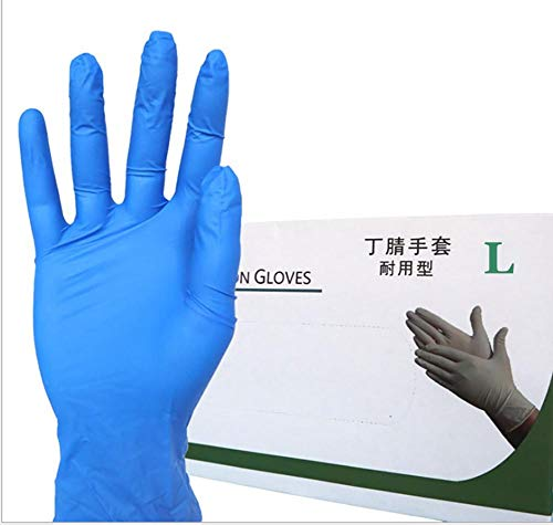 Nitrile Exam Gloves, Powder-Free, Medical Grade, Cool Blue Protection Disposable Nitrile Gloves for Hospitals, Law Enforcement, Tattoo Artists, First Respons, Large, Box/100