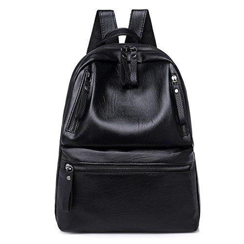 SOQNVLN - Mochila de piel sintética para mujer, con cremallera y hombro, mochila de viaje, color negro elegante y cómodo