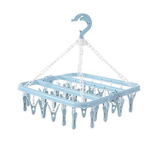 Driedelige vouwen kleerhanger, handdoek sokken beha ondergoed kleerhanger, 32 clip plastic ruimtebesparende kast magazijnstelling hanger,Blue