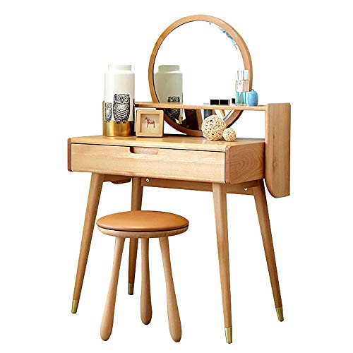 ZDAMN Tocador de maquillaje para dormitorio sobre tocador de madera maciza de lujo, tocador de madera maciza para el hogar (color: beige, tamaño: 80 x 40 cm)