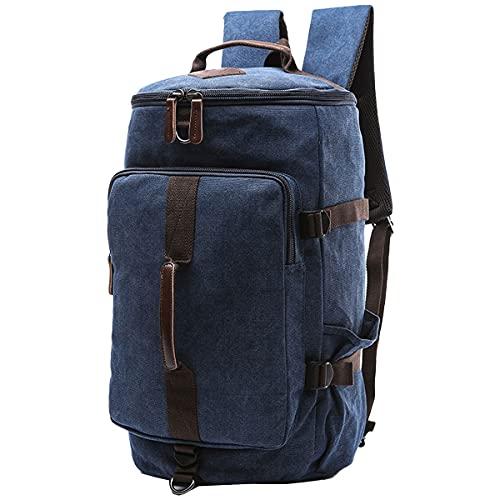 CKNELBAG Herren Daypacks Segeltuch Reiserucksack Hohe Kapazität Zylinder Gepäck Beiläufig Schulranzen Blau