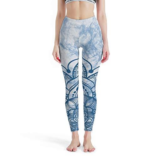 XJJ88 - Luxueuze gladde broek vrouwen, Mandala populaire legging blauw aquarel Mandala patroon zomer capri leggings voor meisjes
