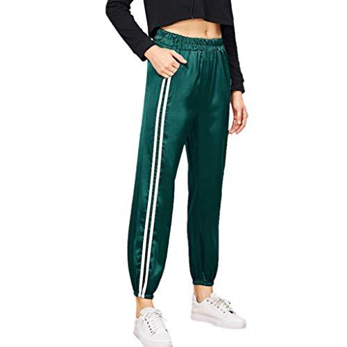 FRAUIT dames streep broek sweatbroek strepen sweatpants elastische band joggingbroek met zakken harenbroek Motion Sports Gym lopen Athletic Long Pants