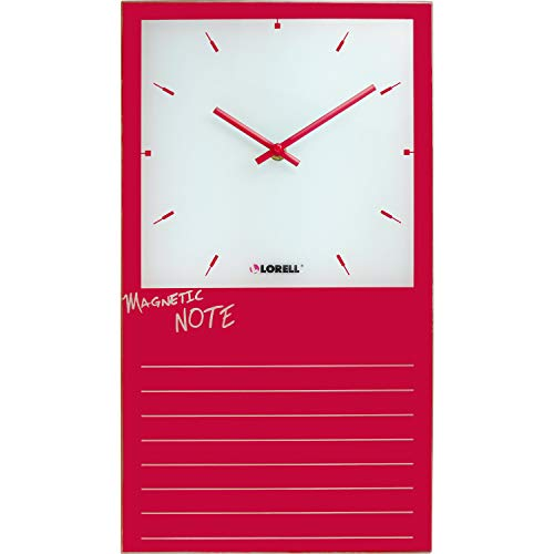 "Lorell Wall Clock, 17.7"" x 9.8"" x 0.4"", Red"