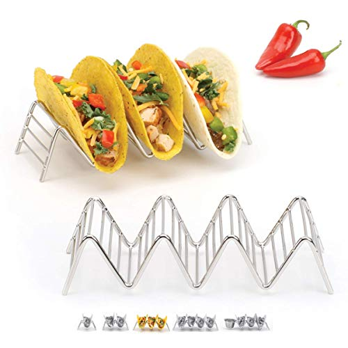 Taco Holder Stand - Chrome Finish - Premium 18/8 Stainless Steel - Holds 3 or 4 Hard Soft Tacos - Five Styles Available - Set of 2 Racks by 2lbDepot