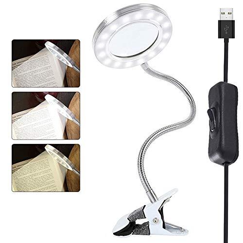 8X Lampe Loupe LED Lampe à Pince Portable Lampe de Bureau Rotation à 360° Rechargeable USB Lampe Esthetique Protection des Yeux pour Lecture Maquillage Nail Art Tatouage