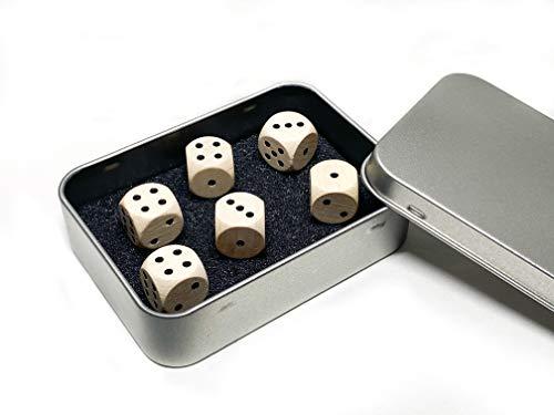 TS Spielkarten Würfel Set - 6 Holz Spielewürfel aus Ahorn inkl. hochwertiger Metalldose - sechsseitige Augenwürfel, Spielwürfel für z.B. Kniffel- Made in Germany