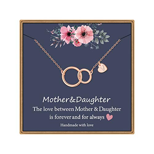 Mom to Daughter Necklace Rose Gold Plated Infinity Circle Necklace Gifts for Mom and Daughter Heart V Initial Necklace Mother Daughter Gifts Mothers Day Christmas Birthday Gifts for Women Girls