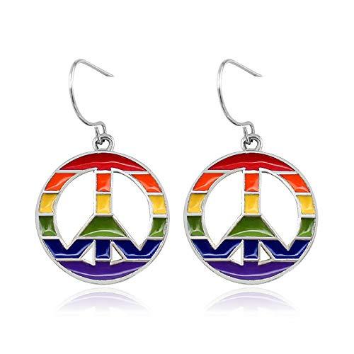Rainbow joyería lesbiana pendientes gay oreja circular color Eiffel torre oreja studs moda mujer chica fiesta regalo