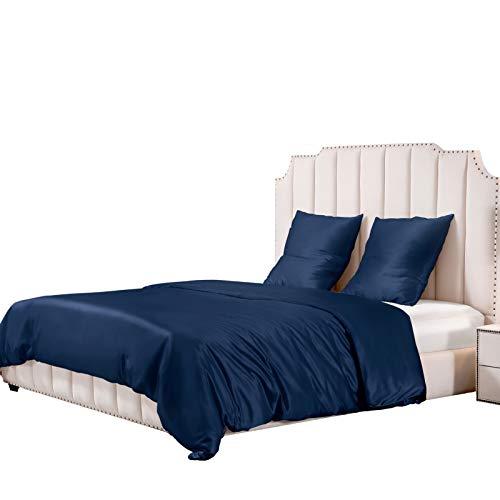 UMI. by Amazon - Seide Bettwäsche 3-teilige Set 25 Momme mit Seiden Bettbezug 260x220 und Kissenbezüge 80x80 Marineblau, Weich und Atmungsaktiv