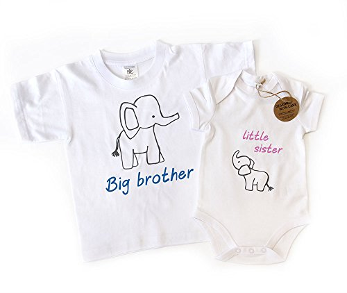 Big Brother Little Sister T-shirt assorti et body avec joli motif éléphant
