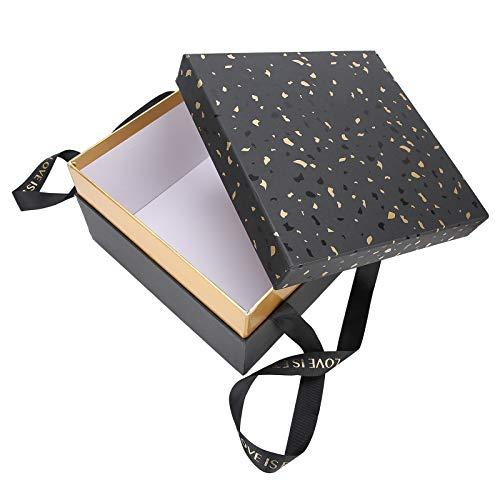 Folany Caja de Regalo de Boda, Caja de Regalo Caja de Almacenamiento de Regalo Plegable de Papel Caja de contenedor de Regalo para(Black [Single Gift Box])