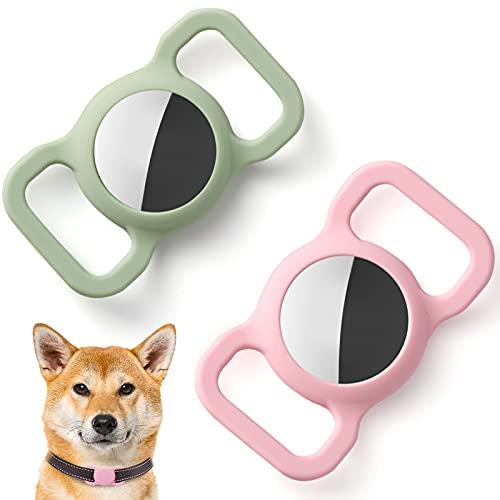 Kuaguozhe Silikon Schutz Hülle Kompatibel mit Apple Airtag GPS Finder Hundehalsband, Pet Loop Holder für Apple Air_Tags, Slide On Sleeve Kompatibel mit Apple Airtags-Pink + Grün