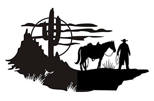 Cowboy Western Scene v1 Decal Sticker - Peel and Stick Sticker Graphic...