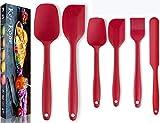 KerKoor Spatola in Silicone per Impasto, Utensile da Cucina Antiaderente Gomma Spatole Cucchiaio Resistente al Calore Rosso per Cucina Cottura e miscelazione