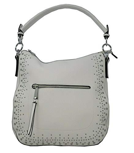 Dudlin Damen Handtasche Tasche Umhängetasche Vegan Verzierung Nieten Strass JL1205335 (Weiß)