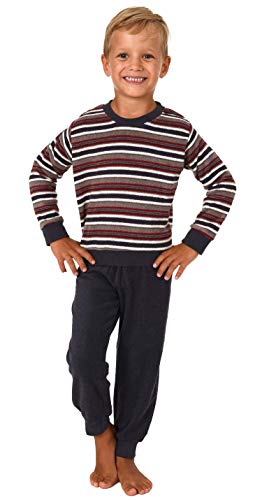 Jungen Kleinkinder Frottee Pyjama Schlafanzug lang mit Bündchen - Streifenoptik - 291 576, Größe:104, Farbe:anthrazit