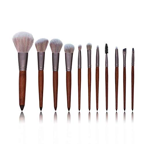 Qfeng Rfeng 11 Ensemble de pinceaux de maquillage en bambou Protection de l'environnement Cosmétiques Kabuki Pinceau de maquillage plat pour fond de teint