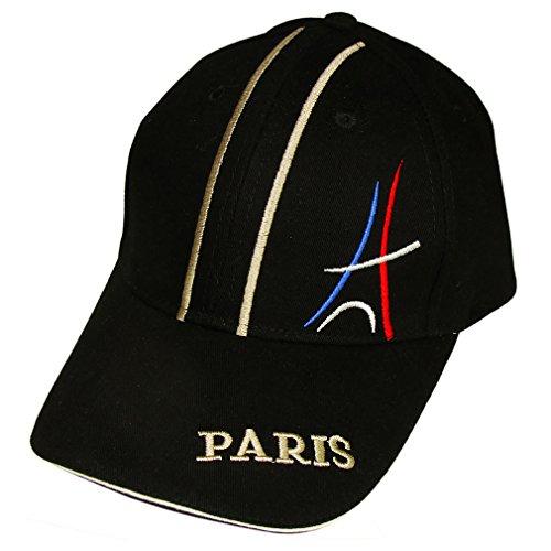 Souvenirs de France - Casquette Tour Eiffel Brodée- Taille réglable - Noir