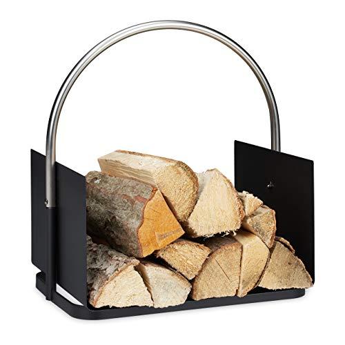 Relaxdays Kaminholzkorb, Metall, vernickelter Griff, Brennholzkorb innen, Holztrage, HxBxT 43,5 x 40,5 x 30 cm, schwarz