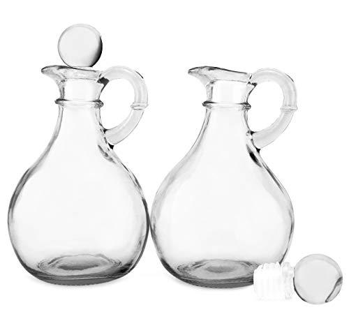 Cornucopia Glass Oil and Vinegar Cruets (Set of 2); Round Glass Oil Dispenser Bottles with Stoppers