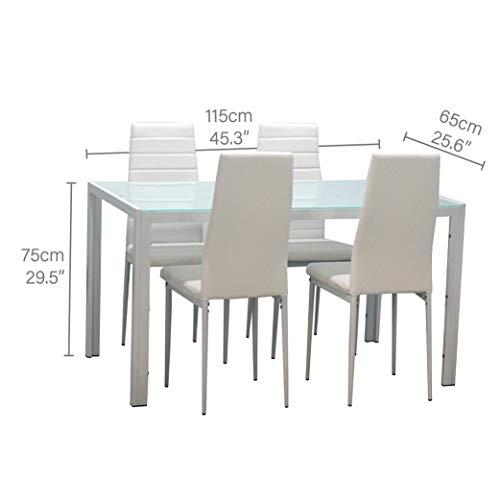 EBS My Furniture Set Sala da Pranzo Tavolo da Pranzo in Vetro Temperato Lucido con Gambe in Metallo e Sedie da Pranzo di Moda Ecopelle (Bianco  1 Tavolo+4 sedie)