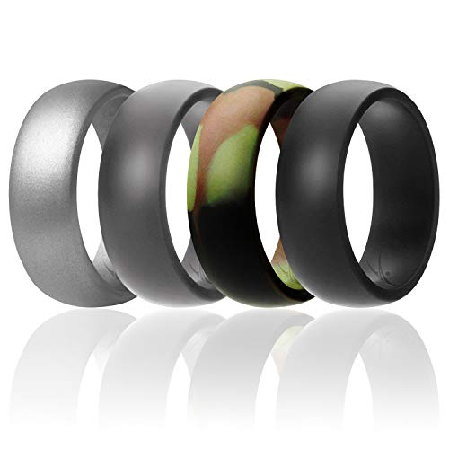 ROQ Silicone Wedding Ring for Men Affordable Silicone Rubber Band, 4 Pack - Camo, Metal Look Silver, Black, Grey - Size 10