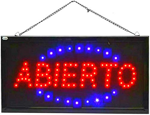 Letrero cartel Panel LED iluminacion negocio abierto open locutorio Letrero cartel Panel LED abierto luz Cartel iluminacion abierto 2 interruptores (ABIERTO-0)