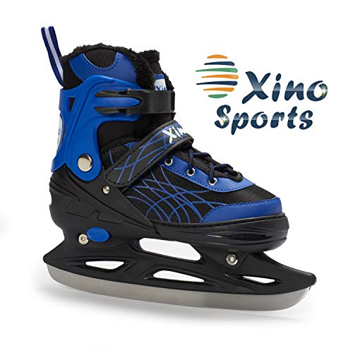 Deluxe Adjustable Ice Skates - for Boys and Girls, Two Awesome Colors - Blue and Pink, Faux Fur...