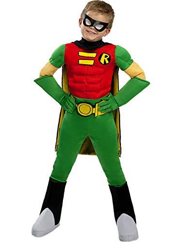 Funidelia | Disfraz de Robin Oficial para nio Talla 7-9 aos Chico Maravilla, Superhroes, DC Comics - Multicolor